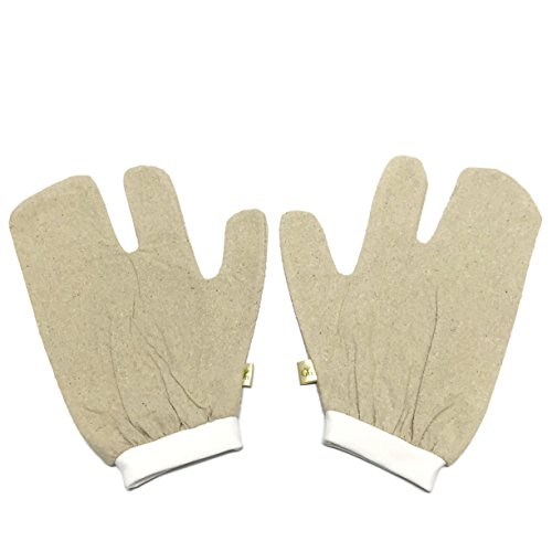 Raw Silk Garshana Massage Gloves | 100% Unbleached Silk Noil Ayurvedic Dry-Brush Therapy | Comes with Luxurious Satin Storage and Travel Bag | 1 Size
