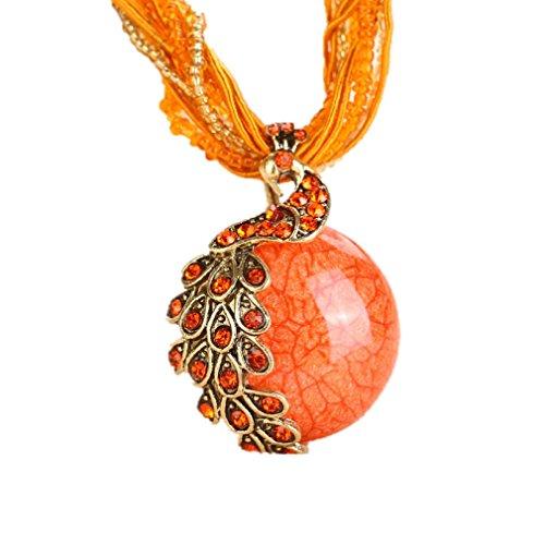 BOLY Women's Vintage Bohemian Style Phoenix Peacock Crystal Opal Pendant Necklace Orange