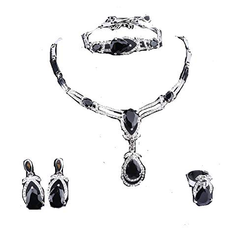 Exquisite Zircon Crystal Necklace Earring Bracelet Ring Bridal Jewelry Sets for Women Gift Party Wedding Prom (Black)