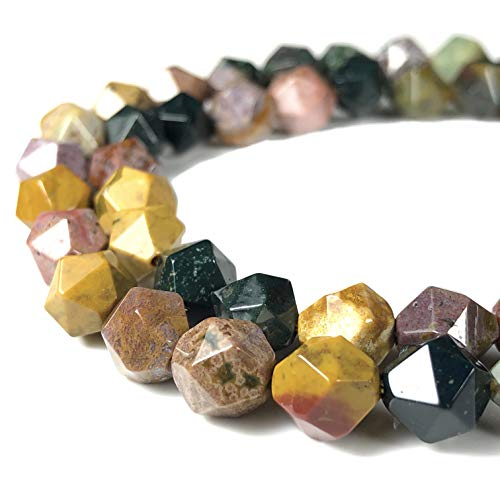 [ABCgems] Madagascan Kabamby Ocean Jasper 8mm Precision-Star-Cut Beads for Beading & Jewelry -