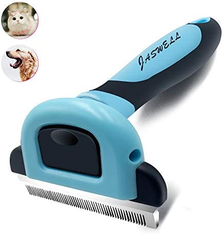 JASWELL Pet Hair Shedding Tool for Dogs and Cats Dog Grooming Tool Effectively Reduces Shedding by UP to 95% Professional Deshedding Brush (M, Blue)