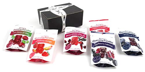 Bissinger's Gummy Pandas 6-Flavor Variety: One 3 oz Bag Each in a BlackTie Box (6 Items Total) -