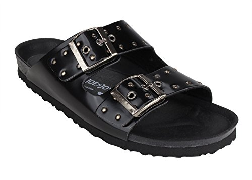 - JOE N JOYCE London Unisex Sandals with a Comfort-Footbed for Men & Women, Size: W6/M4 US - Narrow, Eyelet Black, SynSoft, Two Strap, 2 Band, Girls, Boys, Ladies