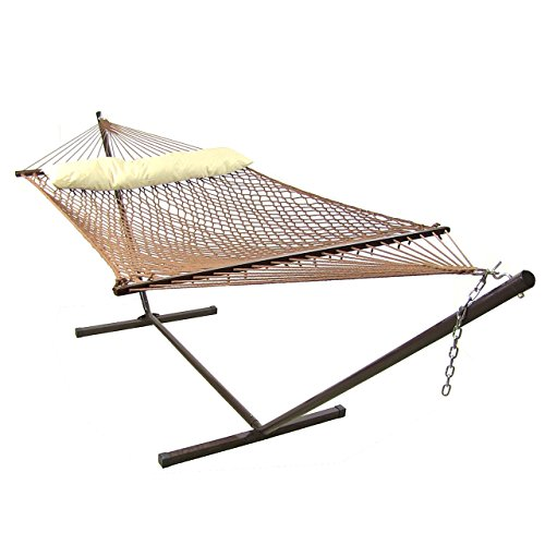 Sunnydaze 2 Person Polyester Spreader Bar Rope Hammock and Pillow with 15-Foot Steel Stand, Brown, 400 Pound Capacity
