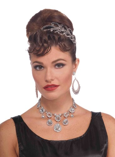 Forum Novelties Vintage Hollywood Rhinestone Necklace, Silver, One Size