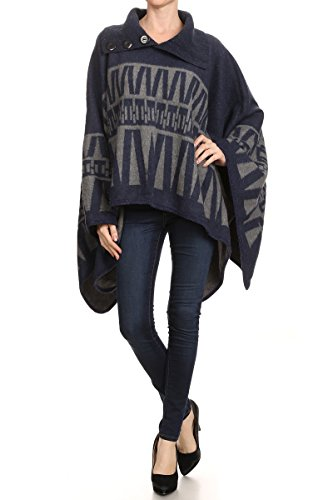 LL. Womens Navy Button Bold Geometric Fall Winter Poncho Pullover - Sweater Wide Sleeve