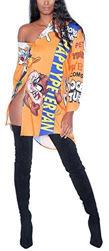 Speedle Women Sexy Long Sleeve Floral Print Button-Down Shirt Blouse Mini Dress Top Orange XXL (Up Close Vintage Blouse)