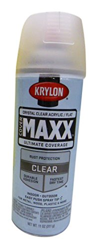 Krylon K09148000 COVERMAXX Spray Paint, Flat Crystal Clear Acrylic, 11 Ounce