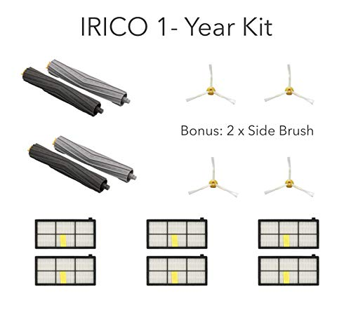 - IRICO 1-Year iRobot Roomba Replacement Parts 800 900 Series | Replenishment Kit with 2 Sets of Extractor & 6 Filters & 4 Side Brushes for iRobot Roomba 980 960 890 880 870 860 850 805