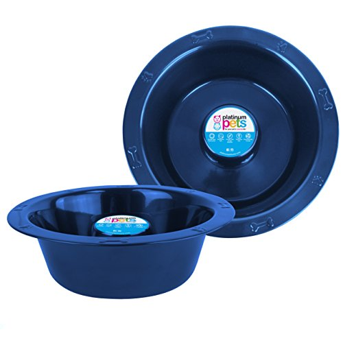 Platinum Pets Slow Eating Extra Wide Rimmed Bowl, Sapphire Blue, Large by Platinum Pets