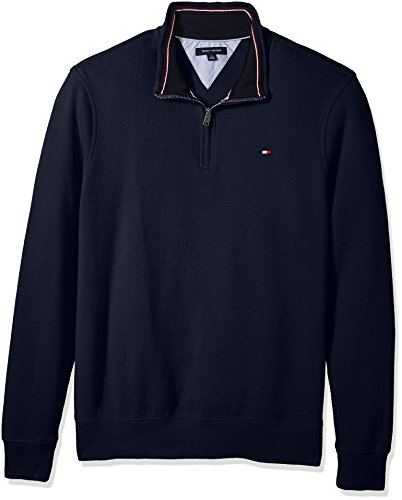 Tommy Hilfiger Men's Big and Tall 1/4 Zip Pullover Sweatshirt, Navy Blazer, BG-2XL by Tommy Hilfiger