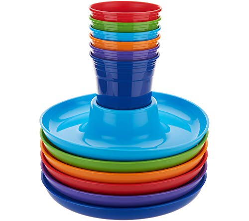 Great Plate 12 Piece One-Hand Food and Drink Set - 6 Plates with Center Cup Holder, 6 Cups for Pool, Barbecue, Kids Birthdays - BPA Free Plastic, Microwave, Dishwasher Safe - Multi-Color Set