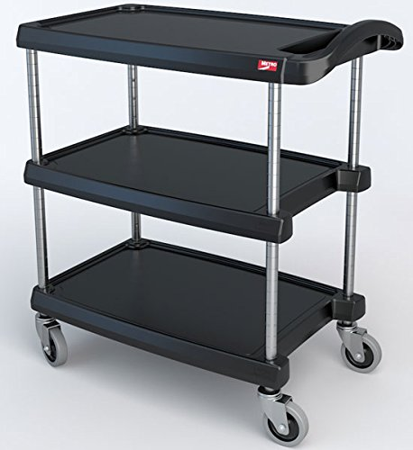 InterMetro Industries MY1627-34BL Mycart Series Black Polymer Utility Cart, 3 Shelf, 35.38 X 31.44 X 18.31-Inch by Intermetro Industries