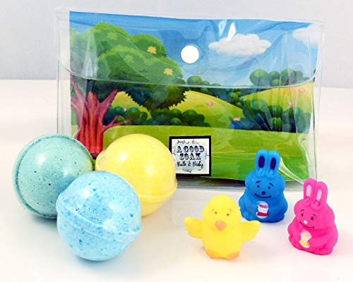 New Kids Trio Bath Bombs with Sweet Bunnies & Baby Chick Puppet Toys - Fresh Aromas Plus Color Therapy Gift Sets
