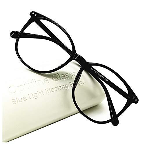 Optifine Computer Glasses Anti Blue Light Blocking Reader Women Men for Mid Big Face (Black, 0)