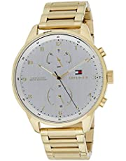 Tommy Hilfiger Chase Men's Silver Dial Gold Plated Band Watch - 1791576