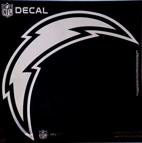 Los Angeles Chargers Large 12'' Silver Metallic Vinyl Auto Decal NFL Football by Stockdale