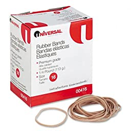 Universal : Rubber Bands, Size 16, 1/8 x 2-1/2, 535 per 1/4lb Box -:- Sold as 2 Packs of - 535 - / - Total of 1070 Each