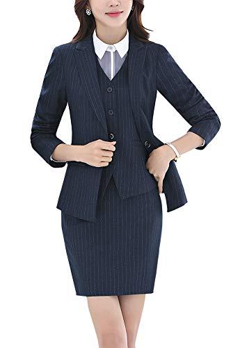 - Women's Three Pieces Office Lady Blazer Suits Business Suit Set Women Suits Work Jacket,Vest&Skirt Suits Dark Blue