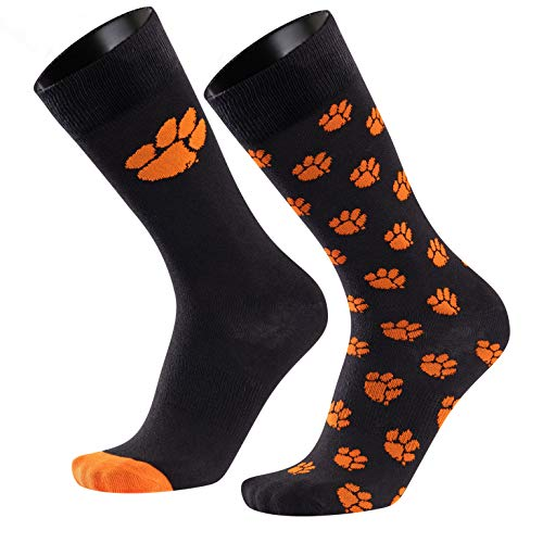 TCK Brands Clemson University Tigers Monday & Tuesday 2-Pack Fine Gauge Cotton Crew Dress Socks from IQ