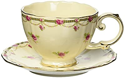 Gracie China Vintage Porcelain 7-Ounce Tea Cup and Saucer Set of 4