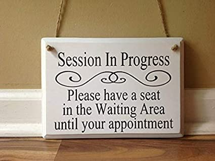amazon com woodensign session in progress please have a seat door