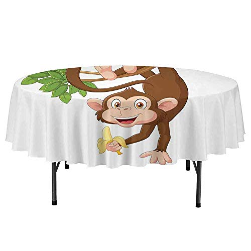 Cartoon Printed Round Tablecloth Funny Monkey Hanging from Tree with Banana Jungle Animals Theme Mascot Print Desktop Protection pad D67 Inch Chocolate - Pad Mascot Desk