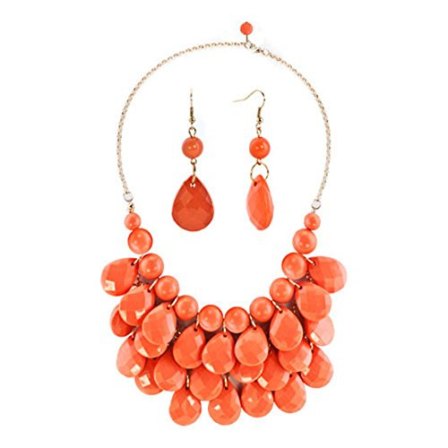 Chunky Beaded Necklace Earring (CharmsStory Vintage Orange Beaded Bubble Bib Chunky Statement Pendant Necklace Earrings Set For Gifts)