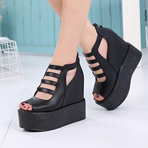 Hollow Sandals Heels Sponge The 38 Inside High black Women'S Cake Increased Fish SFSYDDY Women Feel Shoes And With Mouths With Is 0wBIxq1