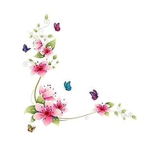 Vinilo adhesivo de pared, 64x 62cm, diseño de flores y mariposas, para decoración del hogar