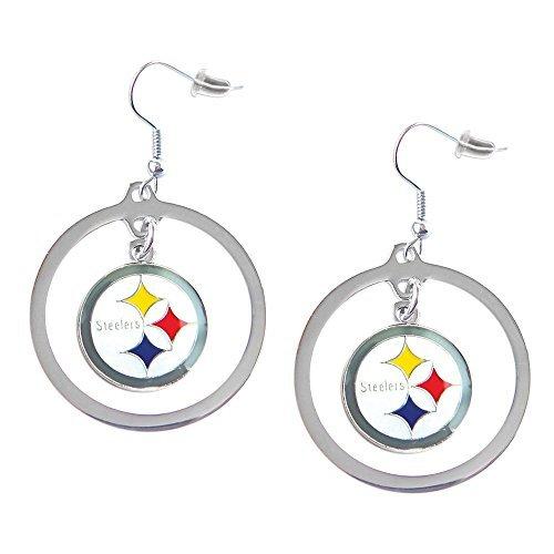 Earrings Hoop Nfl - aminco NFL Pittsburgh Steelers Charm Hoop Earring Set