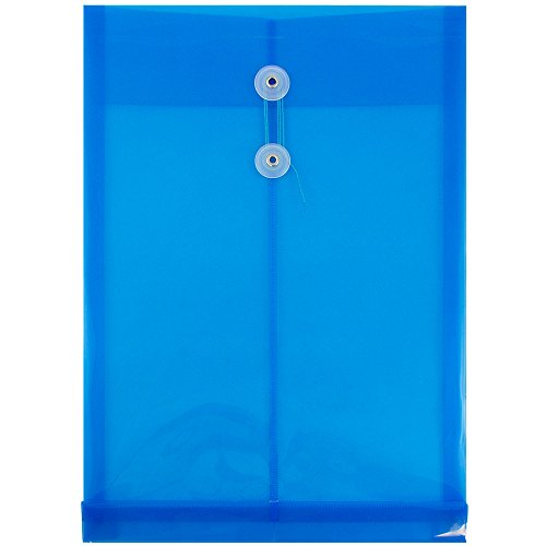 JAM PAPER Plastic Envelopes with Button & String Tie Closure - Legal Open End - 9 3/4 x 14 1/2 - Blue - 12/Pack