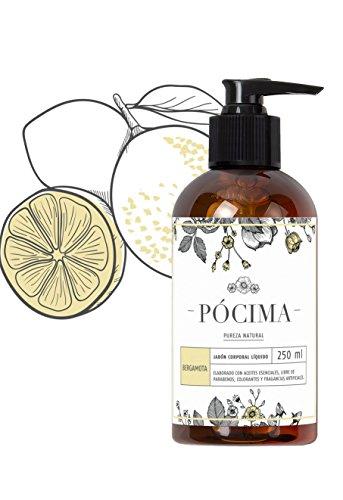 Pócima - Jabón Corporal Líquido con aceite Esencial de Bergamota y Aloe Vera Orgánico 250 ml …