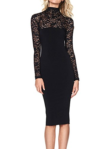 Lppgrace® Womens Sexy Long Sleeve Stretch Lace Bodycon Party Formal Dresses (Medium, Black)