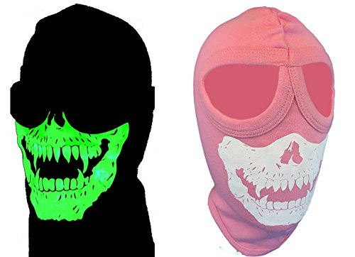 My Skull Store Pink Cotton Glowing Vampire Face Mask Ski Hood Balaclava With 2 Eye Holes for Women, Teens Hunters ATV, Snow, Snowmobile -