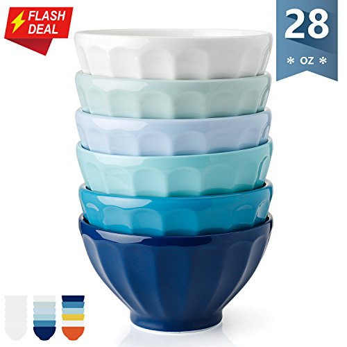 Deep Fluted Bowl (Sweese 1131 Porcelain Fluted Latte Bowl Set - 28 Ounce Stable and Deep - Microwavable Bowls for Cereal, Soup - Set of 6, Cold Assorted Colors)