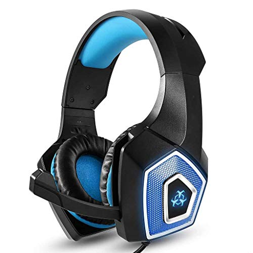 LyJ+evanism Clear and Powerful Bluetooth Headphones, Over-Ear Gaming Headset Noise Cancelling, Headphones LED Light, 50mm Driver, Stereo USB Headset with Mic, for Xbox One PC Laptop Tablet Mac Smart from LyJ+evanism