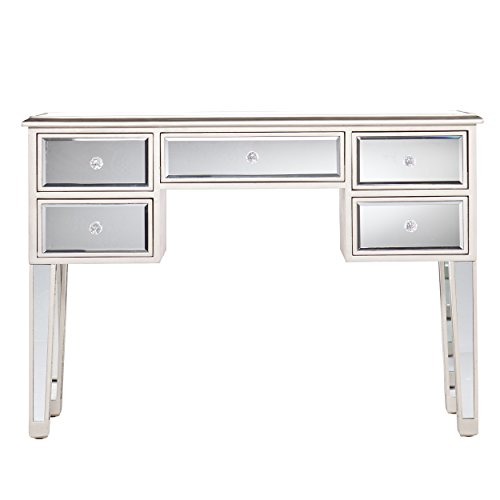 Southern Enterprises Mirage Mirrored Media Console Table, Matte Silver Finish with Faux Crystal Knobs - Console Style Vanity