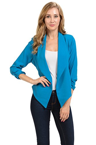 Auliné Collection Womens 3/4 Sleeve Casual Work Lined Open Front Cardigan Blazer Azure Blue XL