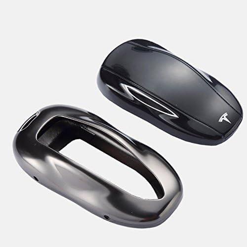 Nero for Model s Ganquer Pratico Morbido Caso Chiave Auto Accessori Silicone Antipolvere Portachiavi Cover con Anello per Tesla Modello 3 S X