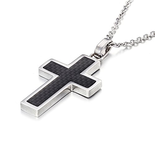 Carbon Match - MgTree Stainless Steel Black Carbon Fiber Inlay Cross Pendant Necklace for Men Women, 20''-24