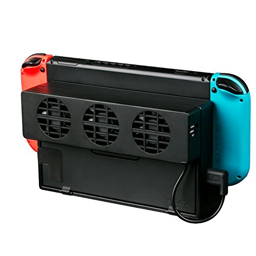 - LREGO External USB Power Cooler for Nintendo Switch Docking Station, USB Cooling Fan for NS Original Dock - Black