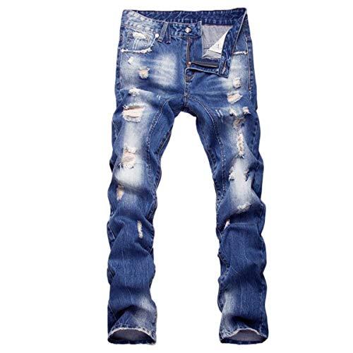 Jeans Comodo Retro Blau Denim Battercake Fit Con Foro Casual Uomo Slim Estate Lunghi Pantaloni Da 78x6q8B5