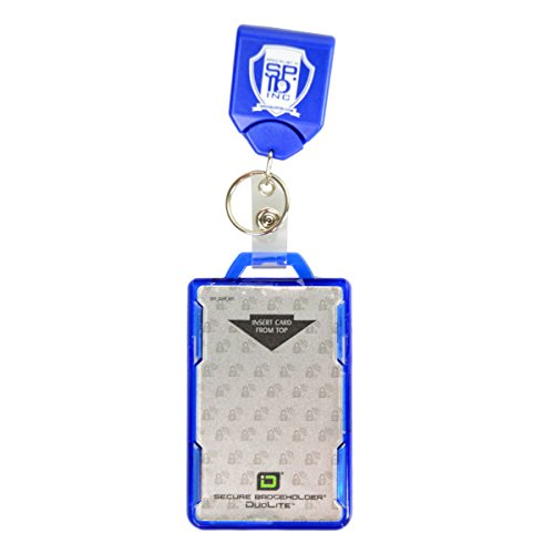 Retractable Heavy Duty Blue Badge Holder Key Reel with ID Stronghold Shielded 2 Card Badge Holder by Specialist ID