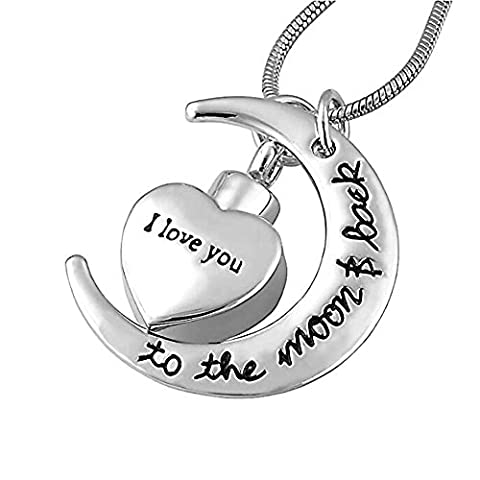JMQ Urn I Love You to the Moon and Back Necklace for Ashes Memorial Keepsake Cremation Pendant (Love Jewelry For Men)