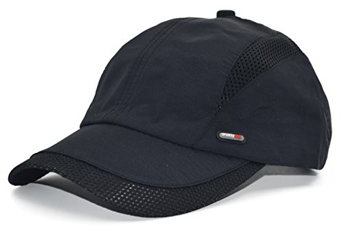 Womens Black Adjustable Cap (Melesh Adjustable Summer Mesh Golf Outdoor Sport Visor Fishing Baseball Hat Cap (Black))