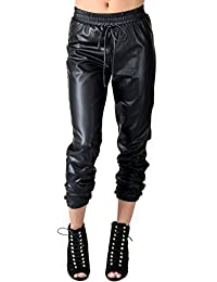 Faux Leather PU Jogger Pants with Drawstring (Plus Sizes Available)