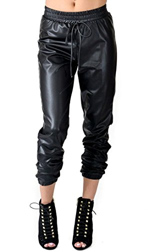 SOHO GLAM Drawstring Faux Leather Joggers -S Black