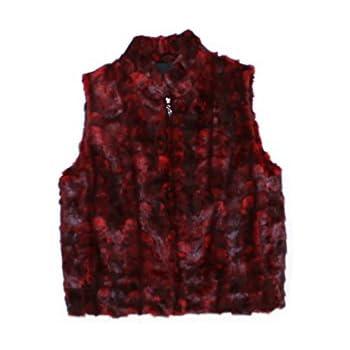 7632922c4a7ea 715447 New Plus Size Red Mink Fur Sections Vest Jacket Coat Stroller 2XL