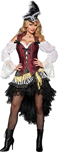 Mini White Satin Sailor Hat - InCharacter Costumes Women's High Seas Treasure Pirate Costume, Black/Red/White, Medium